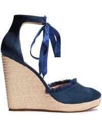 Schutz - Woman Frayed Satin Wedge Espadrille Sandals Indigo - Lyst