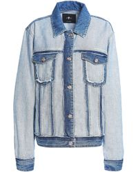 7 For All Mankind - Paneled Two-tone Denim Jacket Mid Denim - Lyst