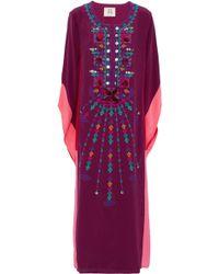 Figue - Embellished Silk Crepe De Chine Kaftan - Lyst