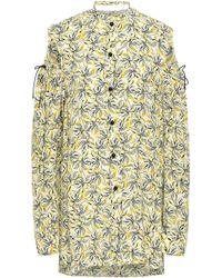 JOSEPH Ripley Cold-shoulder Cutout Floral-print Silk Shirt Pastel Yellow