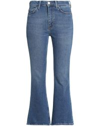 M.i.h Jeans - Marty Cropped High-rise Flared Jeans Mid Denim Size 24 - Lyst