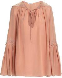 Vionnet - Lace-trimmed Washed-silk Blouse Antique Rose - Lyst