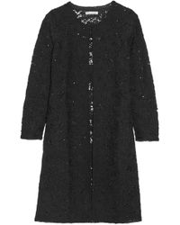 Oscar de la Renta - Sequin-embellished Crocheted Wool-blend Coat - Lyst