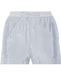 T By Alexander Wang | Striped Crepe De Chine Shorts | Lyst