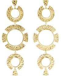 Noir Jewelry - Woman Hammered Gold-tone Earrings Gold - Lyst