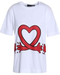 Love Moschino - Printed Cotton-jersey T-shirt - Lyst