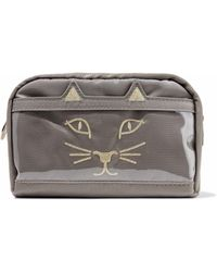 Charlotte Olympia - Purrrfect Embroidered Shell And Pvc Cosmetics Case - Lyst