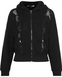 Love Moschino - Lace-paneled Cotton-blend Fleece Hoodie - Lyst