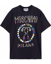 Moschino - Embellished Cotton-jersey T-shirt - Lyst