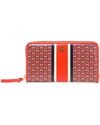 Tory Burch - Printed Coated Canvas Wallet Bright Orange - Lyst