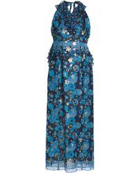 Anna Sui - Metallic Printed Silk-blend Fil Coupé Halterneck Gown - Lyst