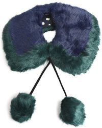 Charlotte Simone - Woman Pompom-embellished Two-tone Faux Fur Collar Navy - Lyst