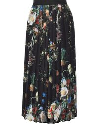 Adam Lippes - Woman Pleated Floral-print Chiffon Midi Skirt Black - Lyst