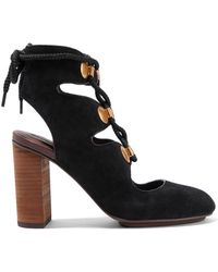 See By Chloé - Embellished Lace-up Suede Court Shoes - Lyst