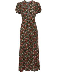 ALEXACHUNG - Floral-print Crepe Hooded Midi Dress - Lyst