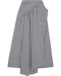 Simone Rocha - Asymmetric Gathered Gingham Cotton Midi Skirt - Lyst