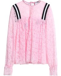 MSGM - Gathered Neon Lace Blouse - Lyst