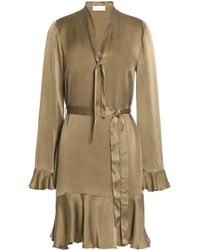 Zimmermann - Ruffled Washed Silk-satin Mini Dress Sage Green - Lyst