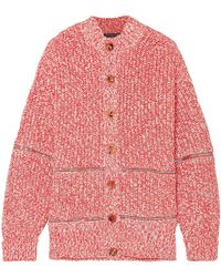 Alexander McQueen - Woman Zip-detailed Cotton And Wool-blend Cardigan Tomato Red - Lyst