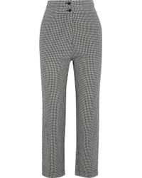 Iris & Ink - Woman Rowan Cropped Gingham Cotton Straight-leg Pants Gray - Lyst