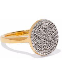 Monica Vinader - Ava 18-karat Gold-plated Sterling Silver Diamond Ring - Lyst