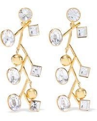 Kenneth Jay Lane - Woman Gold-tone Crystal Earrings Gold - Lyst