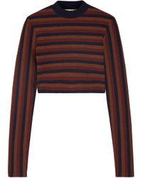 Victoria Beckham - Cropped Striped Stretch Wool-blend Sweater - Lyst