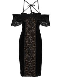 Marchesa notte - Cold-shoulder Lace-paneled Velvet Dress - Lyst