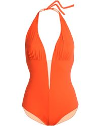 I.D Sarrieri - Mesh-trimmed Halterneck Swimsuit Bright Orange - Lyst