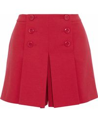RED Valentino - Pleated Cady Shorts - Lyst