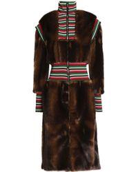 Stella Jean - Striped Ribbed Knit-paneled Faux Fur Coat - Lyst