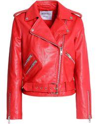 W118 by Walter Baker - Allison Leather Biker Jacket Tomato Red - Lyst
