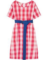 Marni - Belted Gingham Cotton Midi Dress - Lyst
