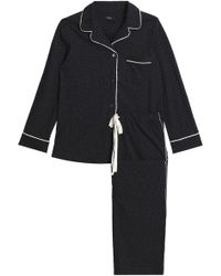Theory - Printed Cotton-jersey Pyjama Set Midnight Blue - Lyst