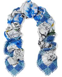 Mary Katrantzou - Woman Paint By Numbers Printed Modal And Cashmere-blend Twill Scarf Blue - Lyst