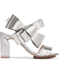 Delpozo - Bow-embellished Mirrored-leather Sandals - Lyst