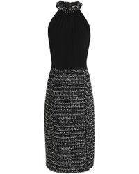 Michael Kors - Crepe-paneled Bouclé-tweed Dress - Lyst