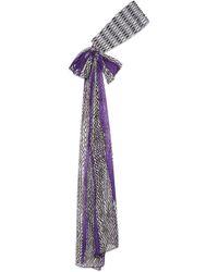 Missoni - Crochet-knit And Printed Silk-chiffon Headband - Lyst