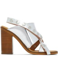 MM6 by Maison Martin Margiela - Studded Mirrored-leather Sandals - Lyst