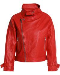 Maje - Beline Suede-paneled Leather Biker Jacket - Lyst
