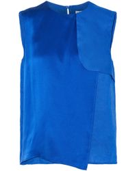 Max Mara - Vezzano Layered Satin-paneled Linen Top Bright Blue - Lyst