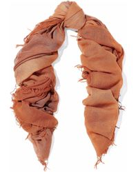 Chan Luu - Woman Frayed Dégrade Cashmere And Silk-blend Scarf Tan - Lyst