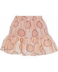 RED Valentino - Gathered Polka-dot Duchesse Satin Mini Skirt - Lyst