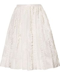 Rochas | Ruffled Polka-dot Silk-twill Skirt | Lyst
