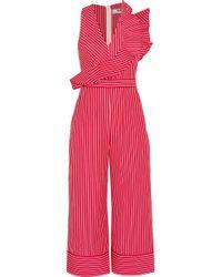MSGM - Ruffled Striped Cotton-poplin Jumpsuit - Lyst