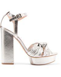 Loeffler Randall - Arbella Knotted Metallic Textured-leather Platform Sandals - Lyst