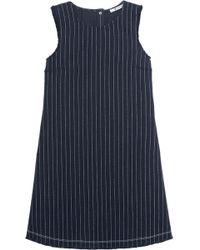 T By Alexander Wang - Frayed Pinstriped Cotton-burlap Mini Dress - Lyst
