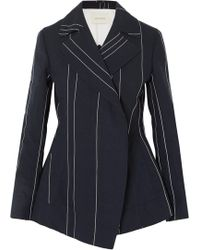 Cedric Charlier - Woman Double-breasted Pinstriped Linen And Cotton-blend Blazer Navy - Lyst