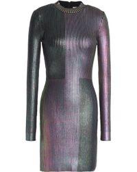 Christopher Kane - Coated Ribbed-knit Mini Dress - Lyst