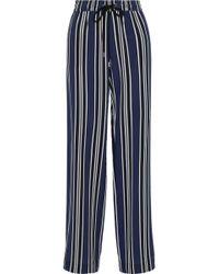 Markus Lupfer - Agnes Striped Silk Wide-leg Pants - Lyst